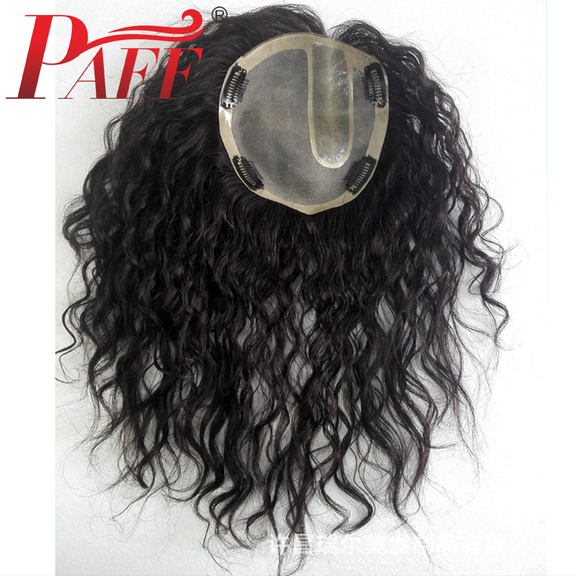 PAFF Peruvian Human Hair Toupee For Women 9*11cm Lace With U Shaped Silk Base Replacement Loose Wave With Clips For Less Hair