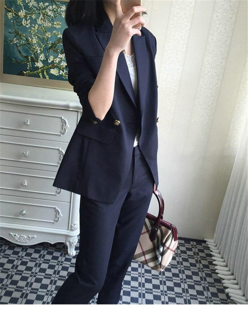 Uniform Business Pant Suits Formal Jacket and Pant Blazer Set Women Office Lady 2 Two Pieces Suits Uniform ka1089
