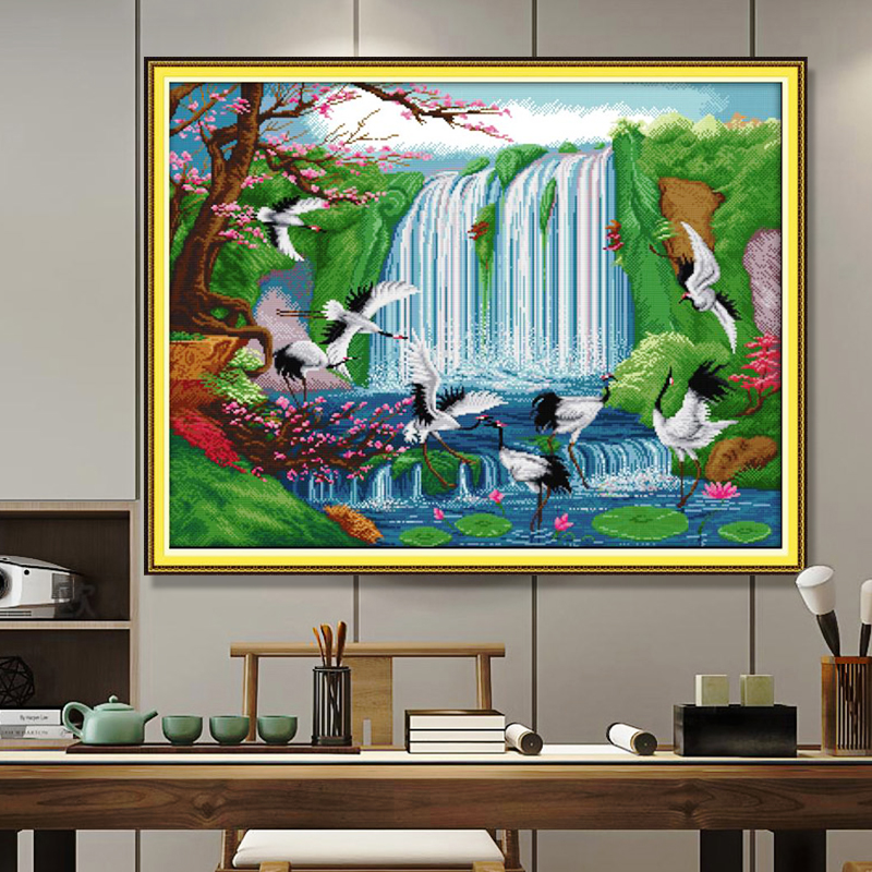 Natural scenery landscape scenery DIY cross stitch embroidery set bird fairy crane print cross stitch home decoration painting-1