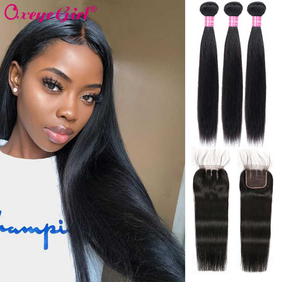 Bundles With 5x5 Lace Closure Straight Hair Bundles With Closure Brazilian Hair Weave Human Hair 3 Bundles With Closure Non Remy