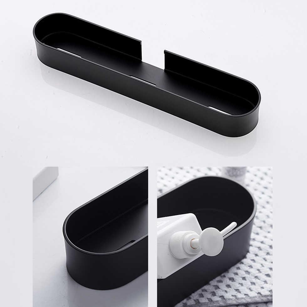 מקלחת Caddy שחור אמבטיה מדף עם בר 30 \ 40 \ 50cm מטבח מרפסת צף מדפי סל אמבטיה אחסון מתלה מגבת בר