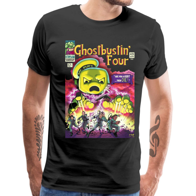 100% Cotton Crazy Men T-Shirts Ghostbustin 4 Street T Shirt Short Sleeve Tops Tees Punk Rock Song Game Movie Tshirt Ghostbusters image