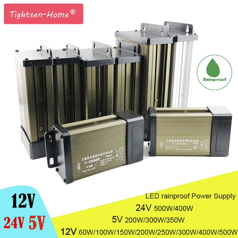 LED Rainproof <font><b>Power</b></font> <font><b>Supply</b></font> DC12V 24V 5V IP43 60W 100W 200W 250W 300W 400W 500W LED Driver Adapter Lighting Outdoor Transformers image