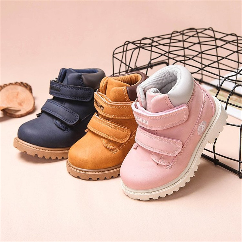 2019 Autumn New Kids Boots Unisex Pu Leather Children Boots Rubber Sole Waterproof Toddler Girls Boys Martin Boots