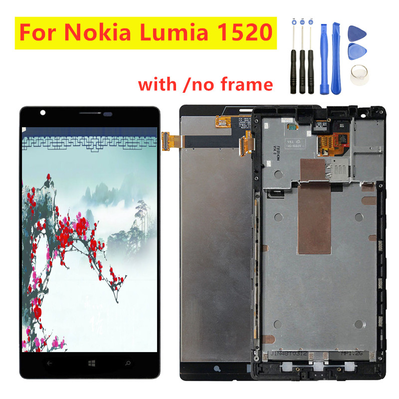 For Nokia Lumia 1520 LCD Display Touch Screen Digitizer Assembly With Frame Free Tools For NOKIA Lumia 1520 Display lcd screen