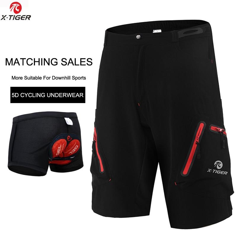 X-tiger men mtb ciclismo shorts com coolmax 5d gel acolchoado ciclismo underwear pro mountain bike solto ao ar livre shorts de descida