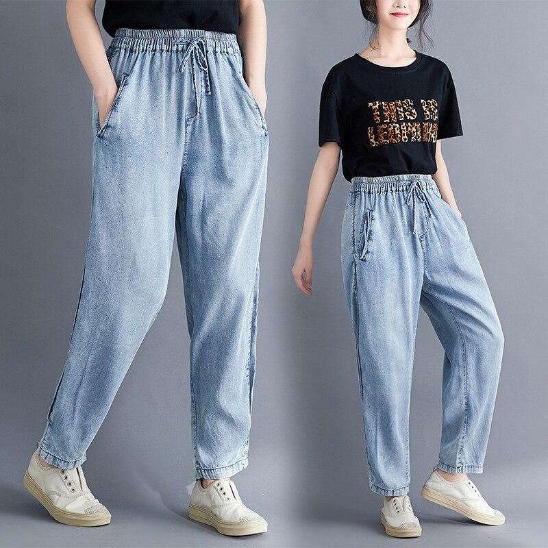 INS Fashion Korean-style Fashion Jeans Women's Thin 3D Cutting Elastic Waist Harem Pants Versatile Cowboy WOMEN'S Pants