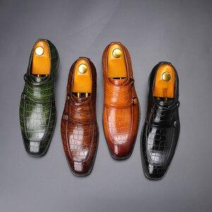 Image 5 - 男性ドレスシューズ手作りパティの結婚式靴メンズフラットレザーオックスフォード正式な靴