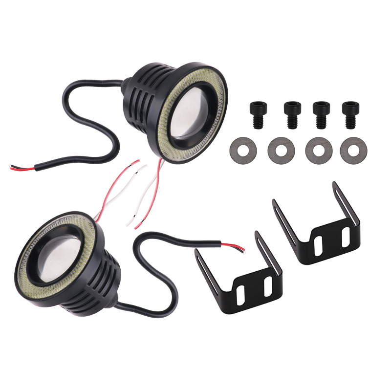 2PCS 2.5 3.0 3.5 Inch Car Fog Lights 30W 7000K LED Fog Lamp White Red Blue Yellow Ring DRL Car Fog Bulbs Refitting Parts