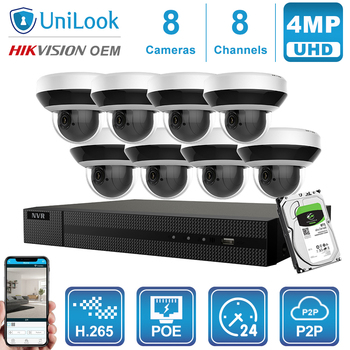 UniLook 8CH NVR 4MP 4X Zoom POE IP Camera Home/Outdoor H.265 CCTV Security System CCTV Video Surveillance NVR kit
