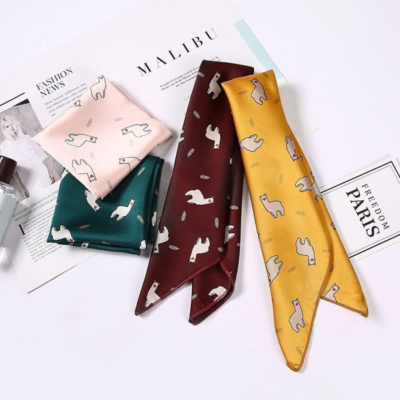 2020 Square Scarf Hair Tie Band Women Elegant Small Vintage Skinny Scarf Retro Head Neck Silk Scarf, Square Scarves Foulard