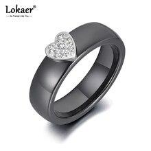Lokaer moda siyah seramik kalp kristal alyanslar takı kadınlar için gül altın renk paslanmaz çelik nişan yüzüğü R19114