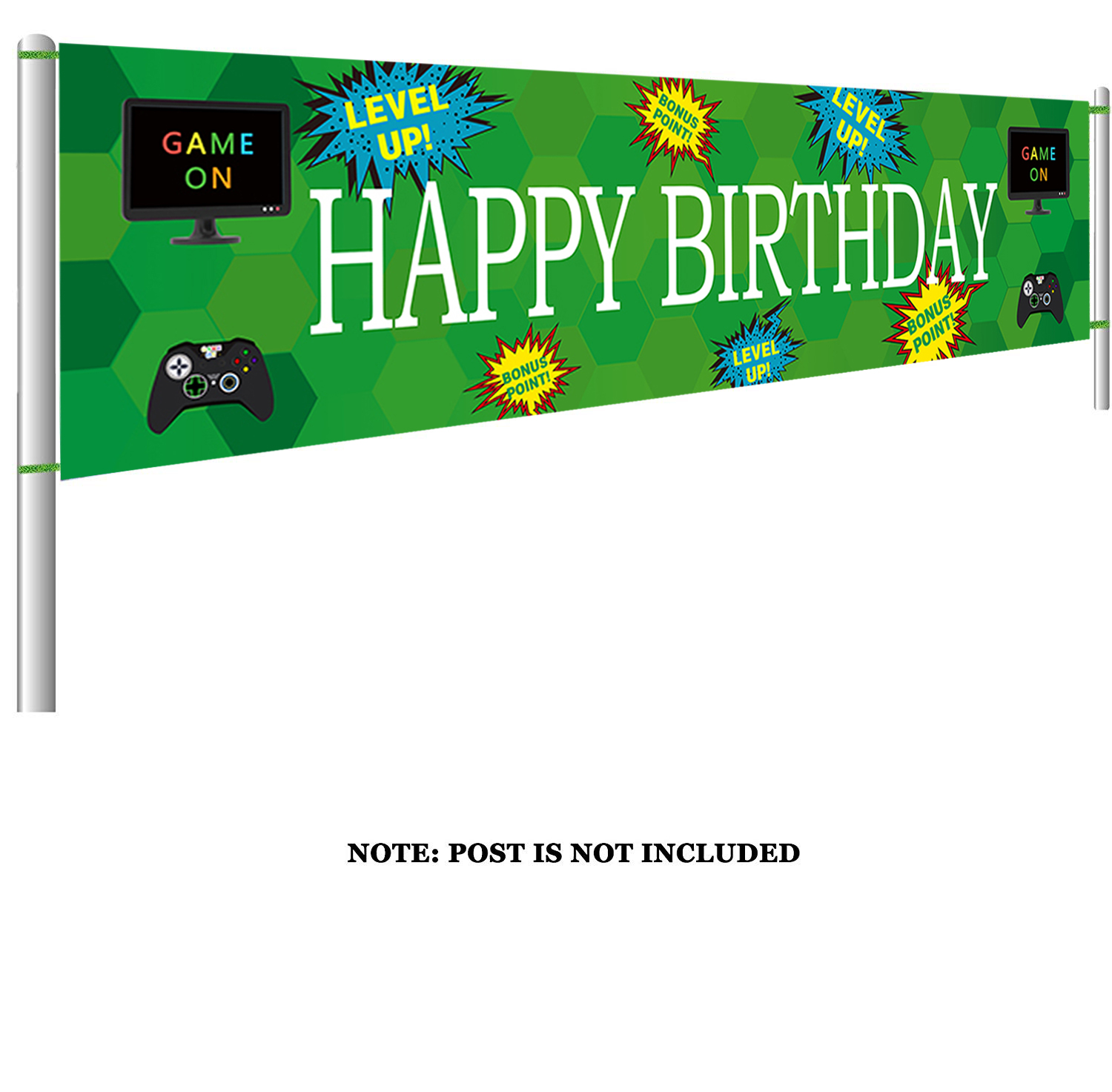 Large Video Game Happy Birthday Banner Gaming Birthday With Gamepad Computer Monitor Game Party Supplies Decorations Bn 1008 Background Aliexpress