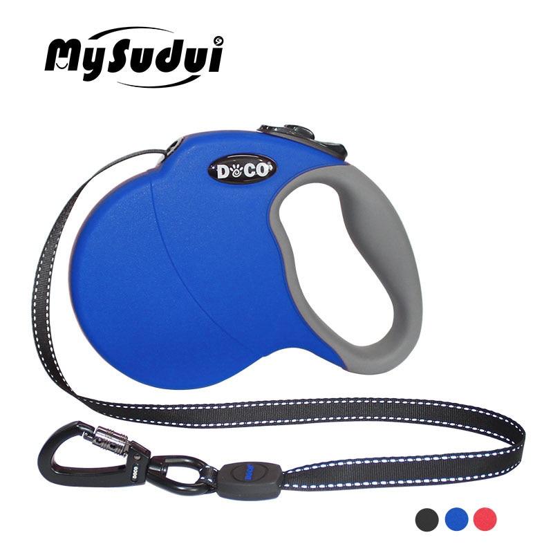 MySudui 4M 5M Nylon Pet Dog Leash Retractable Automatic Running Dog Lead Training Dog Retractable Leash Large Medium Adjustable-in Leashes from Home & Garden
