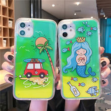 Luxury Luminous Neon Sand Glow In The Dark Liquid Quicksand Phone Case For iPhone 11 Pro MAX XS Max XR XS 7 8 6 Plus Cover Capa(China)
