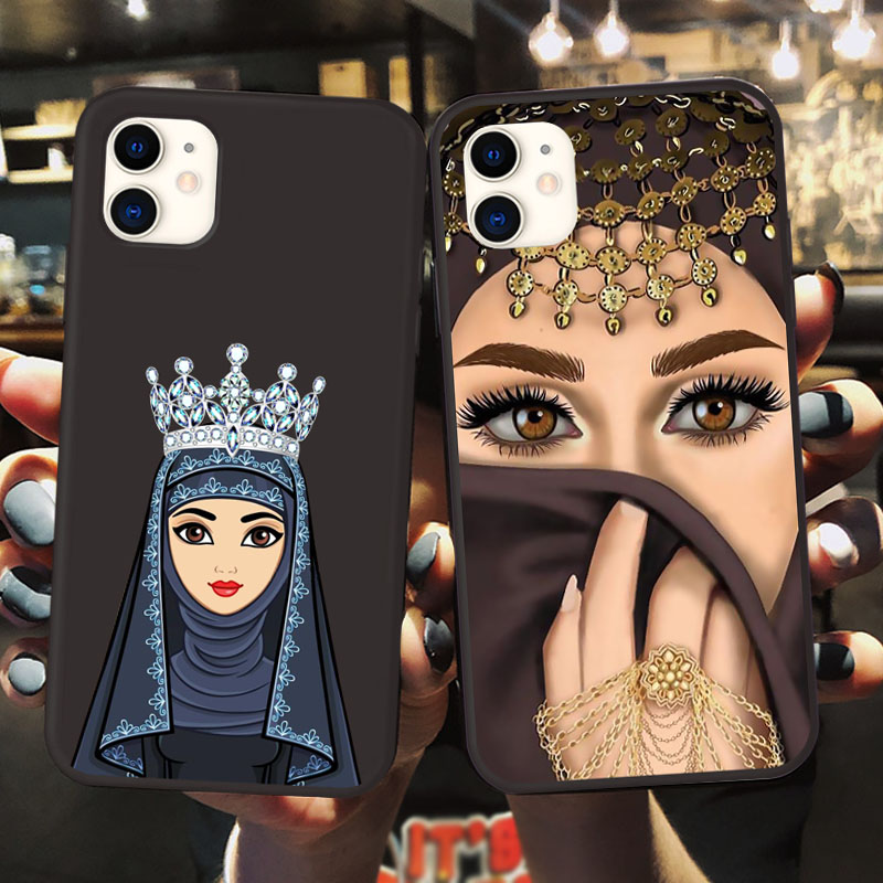 Luxury Woman Crown Hijab Face Muslim Islamic Beautiful Gril Eyes Cover Phone Case For IPhone 11 Pro Max X 6S 7 8 Plus XR XS MAX