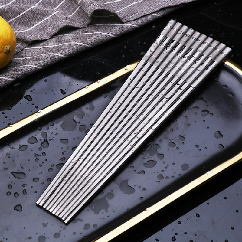 1 pair Stainless Steel Chinese Style Chopsticks Sushi Metal Iron Portable Chinese Healthy Food Stick Tableware Silver Chopstick image