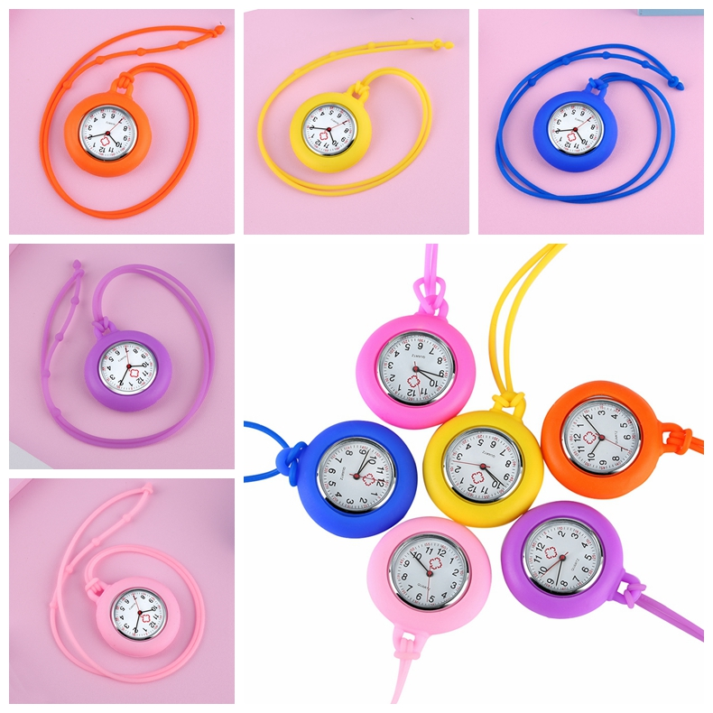 Unisex Silicone Lanyard Pendant Rope Nurse Watch Doctor Medical FOB Pocket Watch Arabic Numerals Clock Steampunk Jewelry Watches