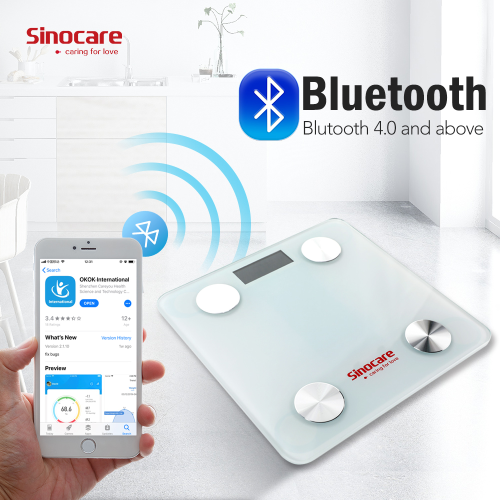 Sinocare Smart Weight Scale Body Fat Scale Bluetooth 4.0 Floor Body Fat Monitor Balance Test 8 Body Data BMI Health LED Display