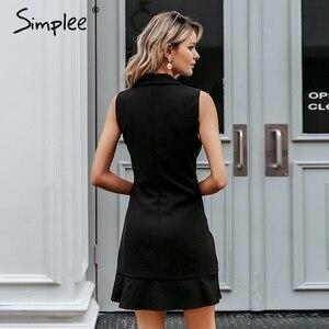 Image 3 - Simplee Ruffled v neck women blazer dress Button sleeveless autumn office ladies dress Casual white female short dress vestidos