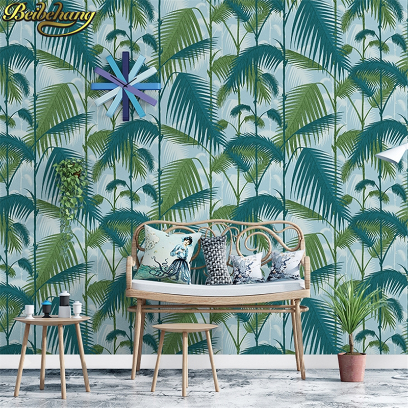 Купить с кэшбэком beibehang wall paper Retro palm tree leaves papel de parede personality Nordic living room TV backgrounds non-woven wallpaper