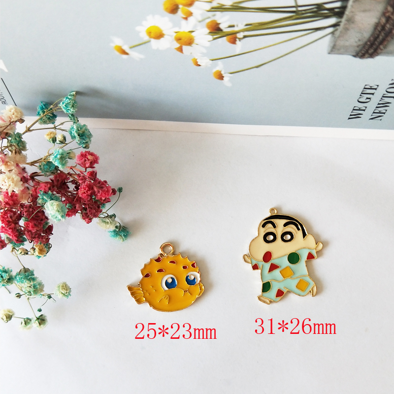 10pcs Cute Clownfish Metal Enamel Charms Cartoon Fish Dangle Pendants Accessories Handmade DIY Fashion For Jewelry Making FX166 in Charms from Jewelry Accessories