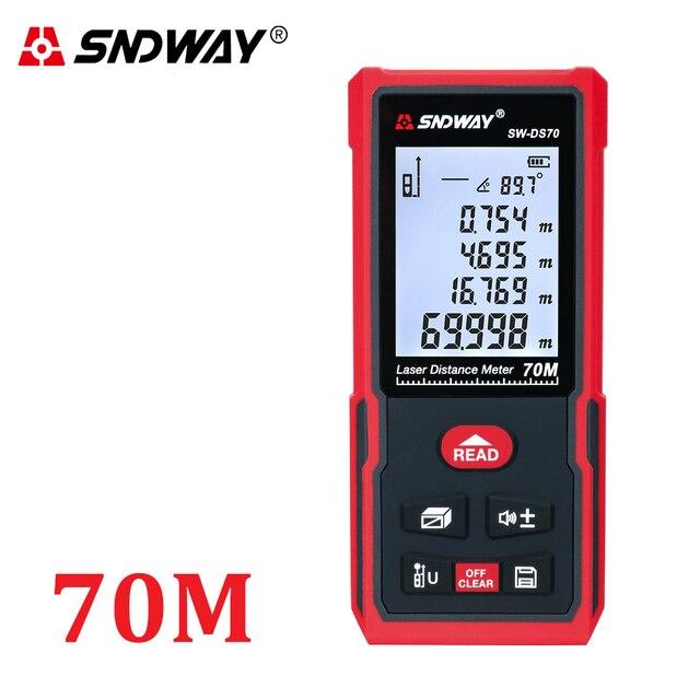 Sndway medidor de distância a laser faixa medida 120m 100m 80 70m 60 50m 40m laser roleta telêmetro caça localizador régua