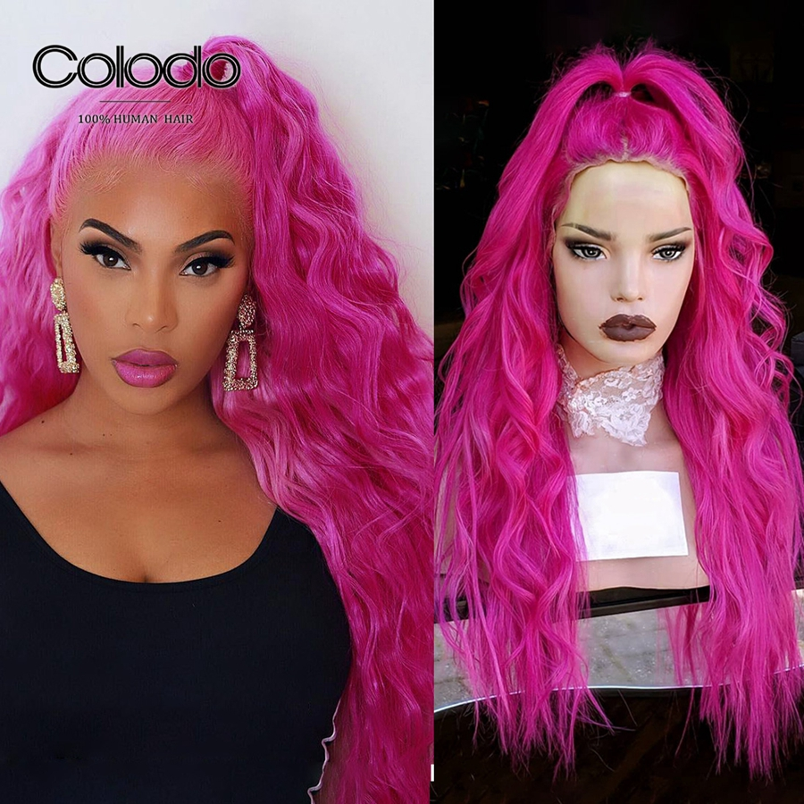 COLODO 150% Density Brazilian Lace Front Wig With Baby Hair Loose Wave Pre Plucked 13x4 Wig Remy Pink Human Hair Wigs For Women