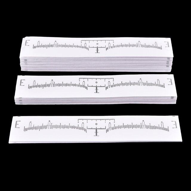 100Pcs Professional Permanent Makeup Eyebrow Shaping Tools Disposable Eyebrow Measurement Ruler Sticker 18*2.2cm 3