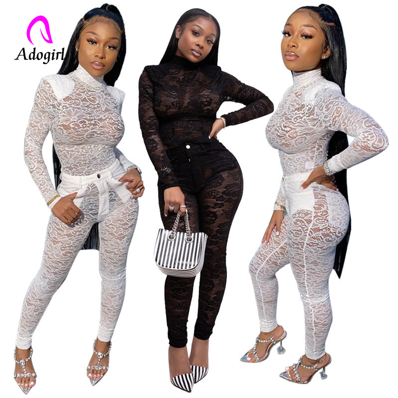 2020 New Spring Women Sets Turtleneck Full Sleeve Mesh Bodysuit + Pants Suit 2 Piece Set Lace Sexy Night Club Tracksuits Outfits