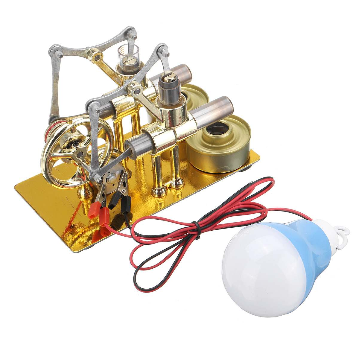 Stirling Engine Metal Double Cylinder Bulb Heat Steam Education Engine Model Physics Science Power Generation Experiment Toy