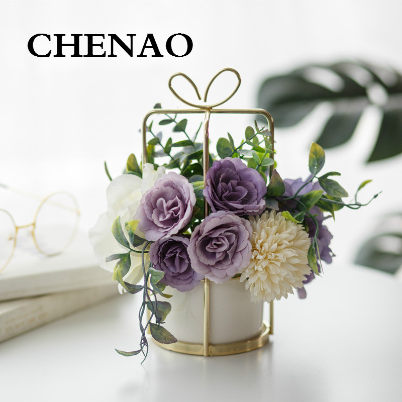 CHENAO European Style style flower Pot set vase table setting decoration indoor artificial home decoration  Potted flowers 1
