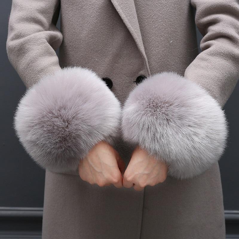 Oversize Villi Wool Imitation Fur Gloves Windproof Cuff Bracelet Fashion Cute Wrist Cuff For Winter Warmth Coat Gloves Women