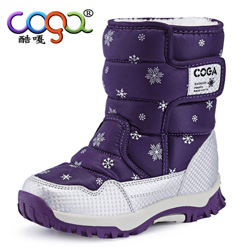 2019 4-13 Years Old High Tube Winter Girl Shoes Big Kids Fashion Print Waterproof Boots Boy Warm Boots For Children Little GirlS
