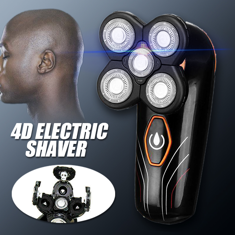 5In1 Rotary 4D Rechargeable Shaver Waterproof Bald Head Trimmer Nose Ear Hair Trimmer Men Facial Cleaning Brush