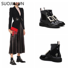 SUOJIALUN 2019 New Brand Women Boot Fashion Rhinestone Ladies Flat Ankle Autumn Winter Slip On Shoes Boots Bota