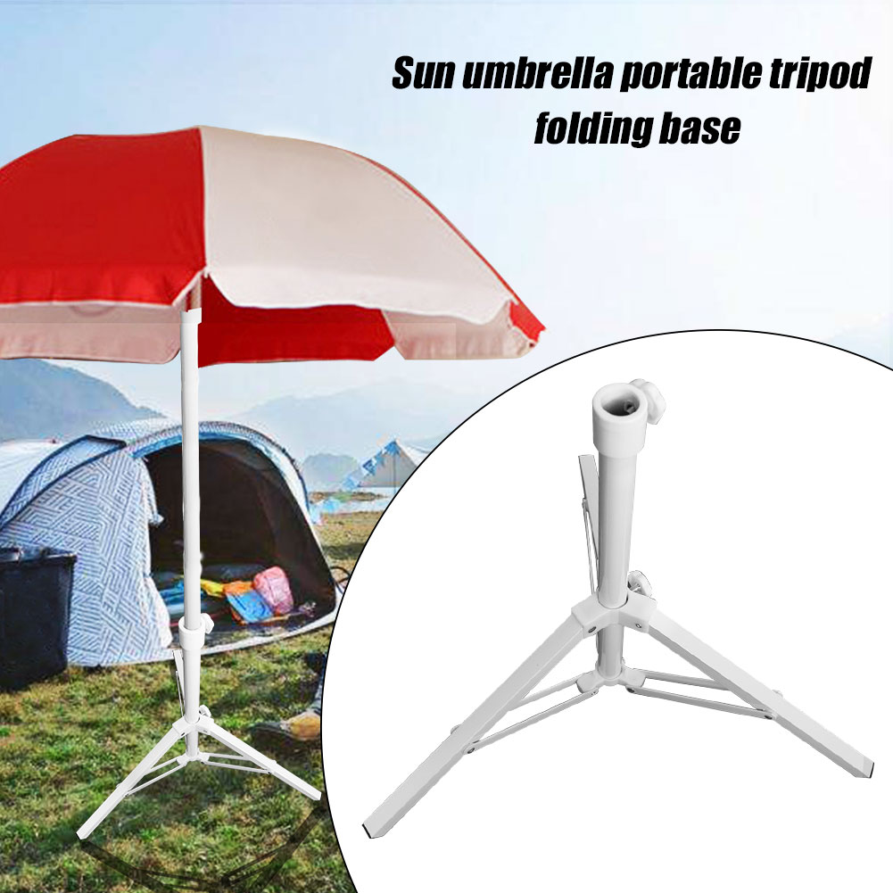 Rustproof Parasol Base Outdoor Patio Beach Foldable Portable Garden Tripod Support Non Slip Accessory Swimming Pool Stand Steel