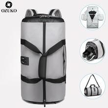 OZUKO дорожный рюкзак для мужчин костюм для хранения большой емкости дорожная Сумочка Многофункциональный Водонепроницаемый Путешествия Mochila с карманом для обуви