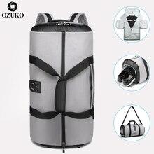 OZUKO 여행 가방 남성용 슈트 스토리지 대용량 여행 핸드 가방 다기능 방수 여행 Mochila 구두 주머니와 함께