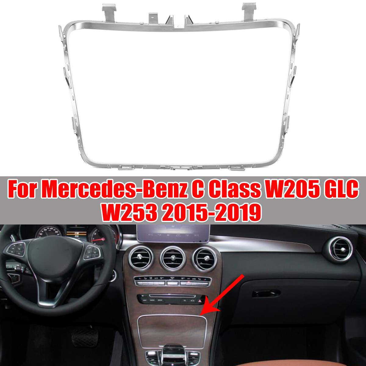 W253 <font><b>W205</b></font> Car Water Cup Holder Strip Plating Ashtray Trim Ring For <font><b>Mercedes</b></font> For Benz C Class W253 <font><b>W205</b></font> GLC200 2015-2019 image