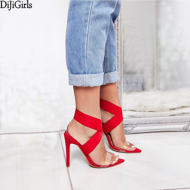 Big Size 35-42 Women Gladiator Sandals Sexy Stiletto High Heels Summer Ladies Party Ankle Strap PVC Sandal Shoes Dress Pumps