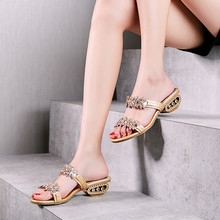 Chunky Heels Leather Sandals Women Shoes Summer Rhinestone Sandals Silver/black/gold Sandals Slipper Fashion Party Crystal Heels summer new sandals chunky heel floral silver wedding dress shoes rhinestone luxurious genuine leather prom party high heels