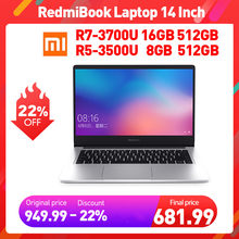 Xiaomi redmibook laptop 14 Polegada amd ryzen 7-3700u, 5-3500u 8gb ram ddr4 512gb rom ssd gráficos integrados radeon notebook vega 8,