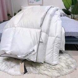 Luxo e calor 100% ganso para baixo edredon acolchoado algodão quente e confortável 200x230cm tamanho inverno cobertor grosso cor sólida