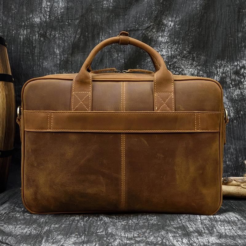 "Hb29cf04198174d7aabee2a10bfa46d68q MAHEU Men Briefcase Genuine Leather Laptop Bag 15.6"" PC Doctor Lawyer Computer Bag Cowhide Male Briefcase Cow Leather Men Bag"