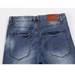 Image 4 - Pantalones vaqueros para Hombre 2020 de verano ultradelgados informales rectos ajustados elásticos azul claro suave Caballero pantalones vaqueros Hombre