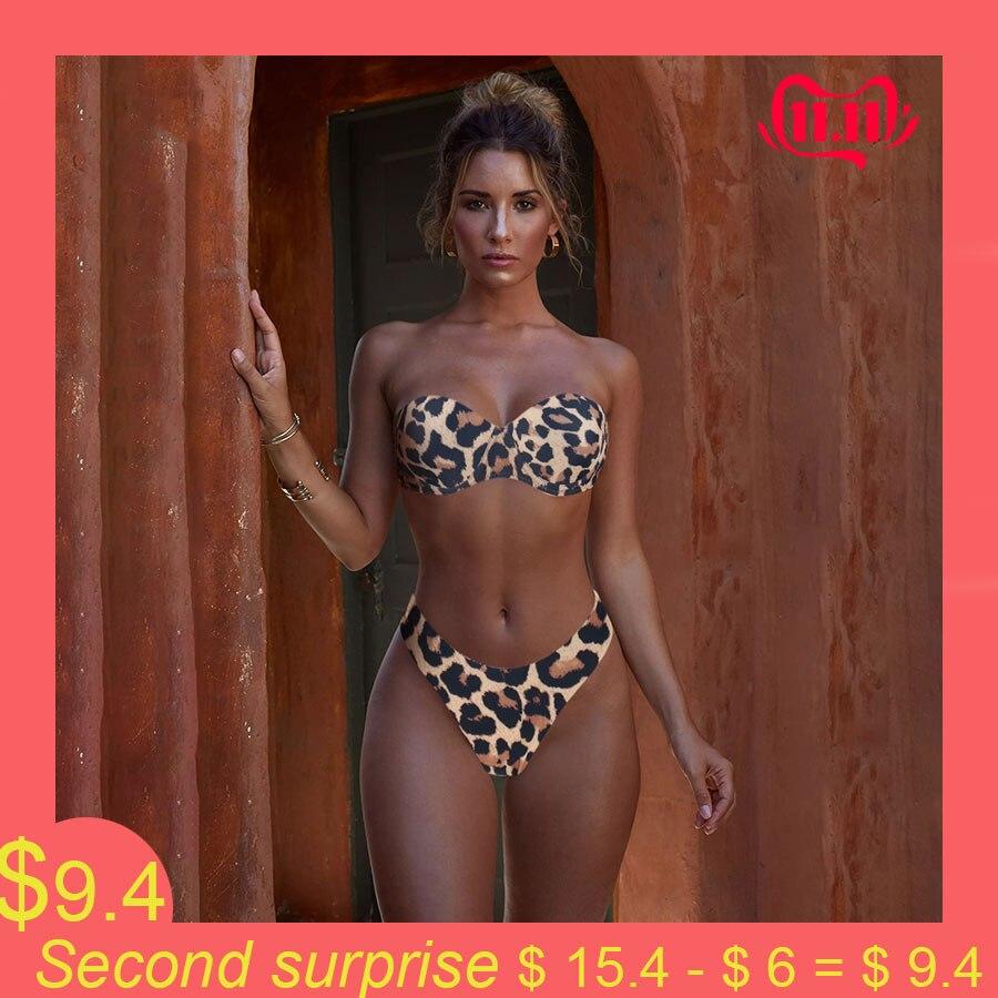 Animal Print Leopard Bikini Push Up Swimsuit Sexy Women Bikini Set 2019 Brazilian Thong Bathing Suit Bandeau Beach Wear Swimwear