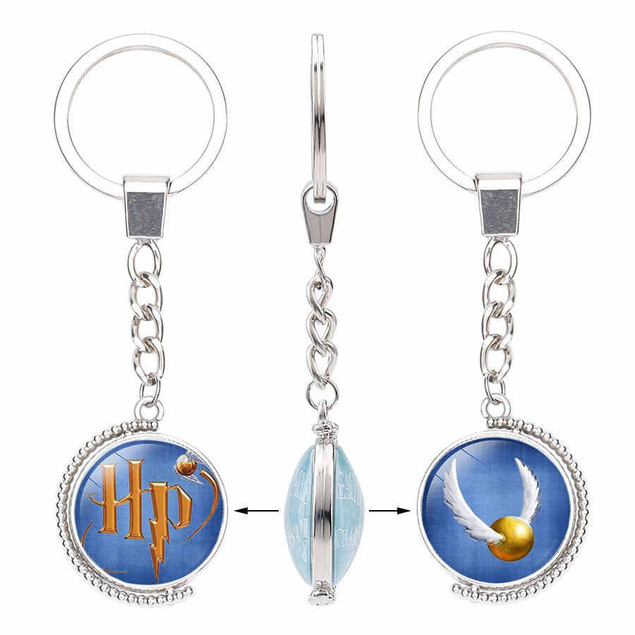 99mm doble cara giratoria cristal cabujón llaveros moda tradicional llaveros de moda cadenas regalo de joyería