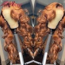 Ingwer Braun Körper Welle Perücke Brasilianische Menschliches Haar Perücken Pre Gezupft 4x4 Spitze Schließung Perücke Transparente Spitze Vorne für Frauen