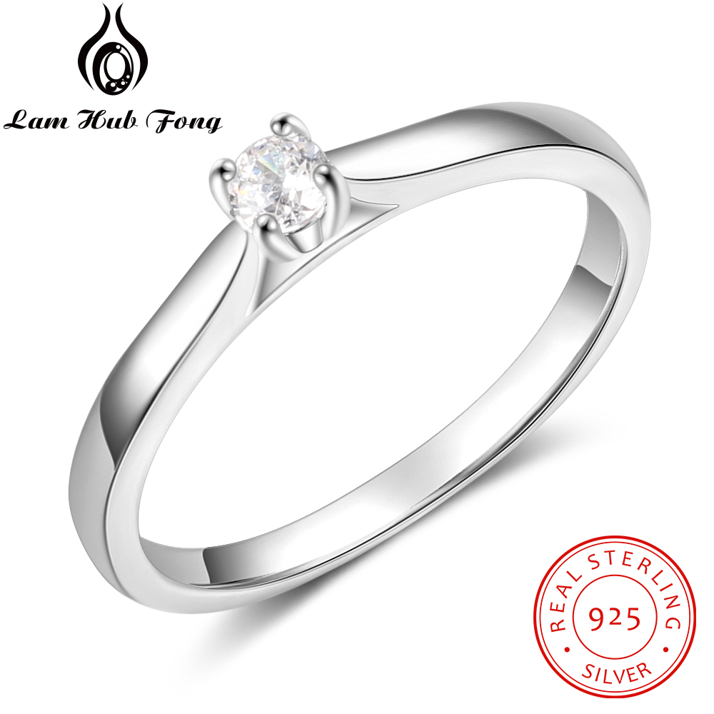 925 Sterling Silver Ring Simple Round CZ Finger Ring For Women 925 Silver Wedding Engagement Gift Fine Jewelry  (Lam Hub Fong)